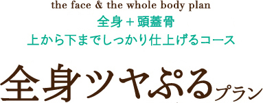 the face & the whole body plan 全身+頭蓋骨まで しっかり仕上げるコース 全身ツヤぷるプラン